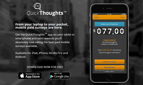 Quickthoughts app