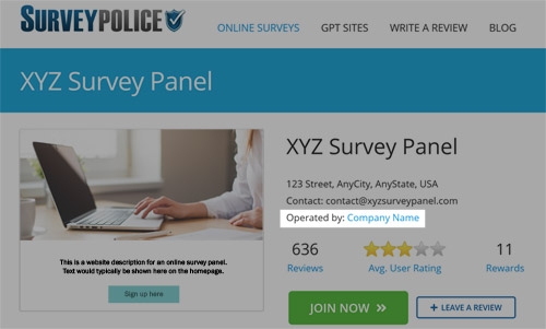 Survey company on SurveyPolice