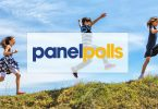 Panelpolls logo superimposed on children running on a hill