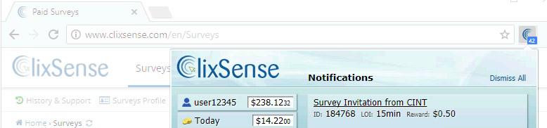 Clixsense toolbar
