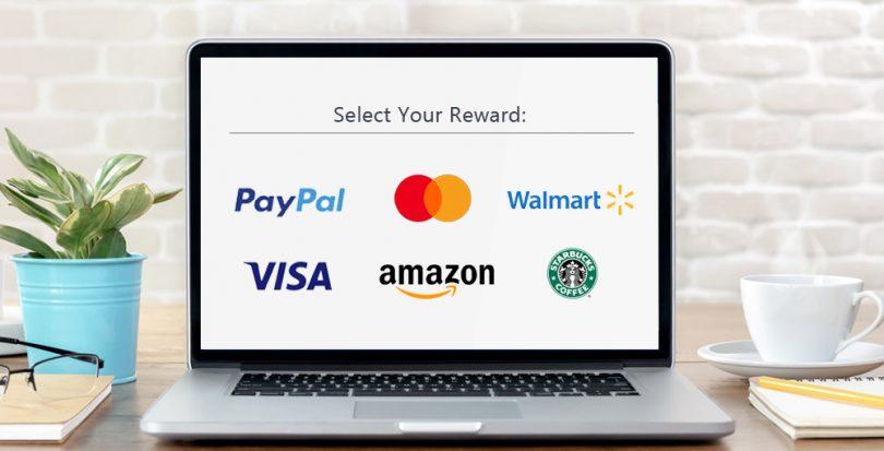 Survey reward choices on laptop