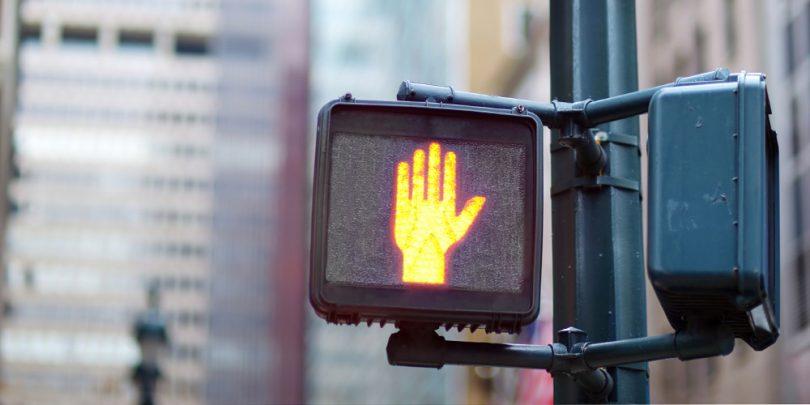 Crosswalk no crossing hand