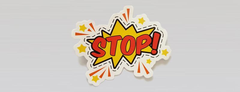 Stop cardboard cutout