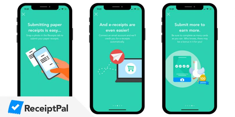 Receiptpal surveys app screens
