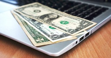 Surveys cash on laptop