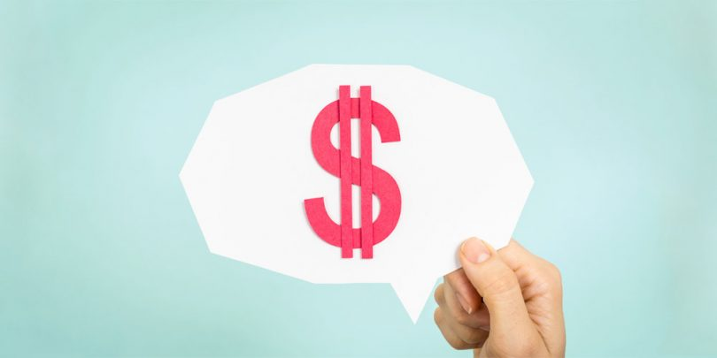 Holding comment bubble with dollar sign