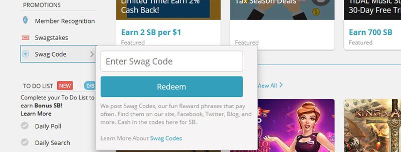 Swag Codes Redemption box