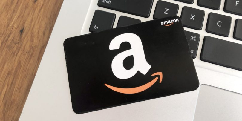 Amazon gift card on laptop computer