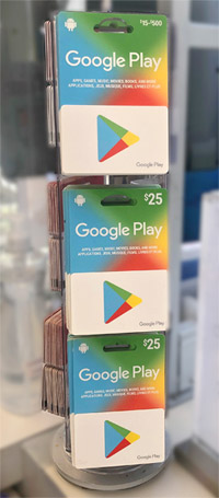Stand in store with google play gift cards