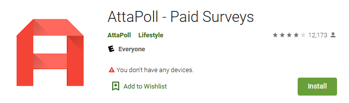 Attapoll app on Google Play store