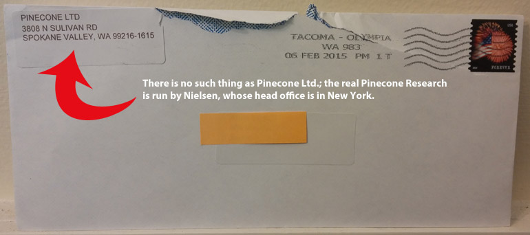 fake Pinecone research envelope