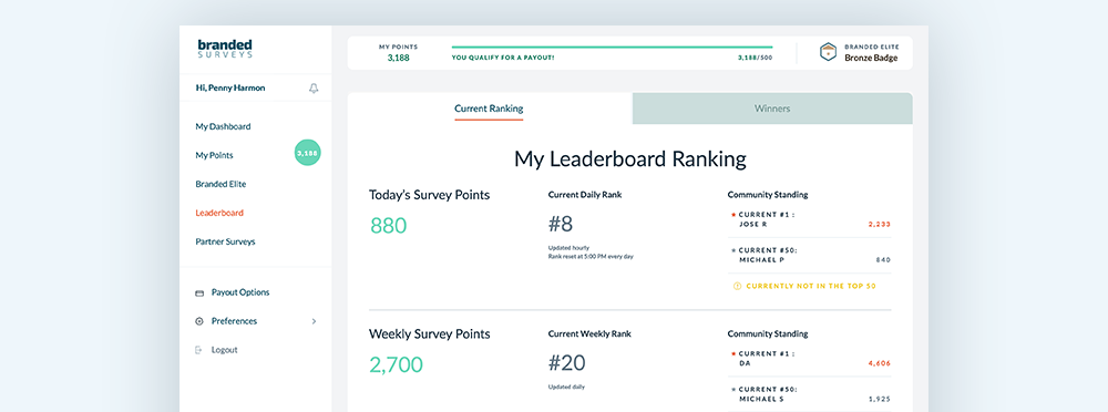 Branded Surveys elite leaderboard