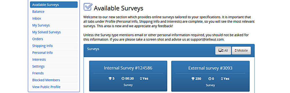 tellwut available surveys
