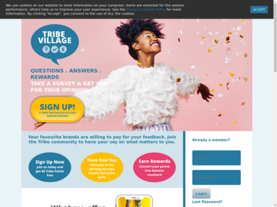 Tribe Village website screenshot