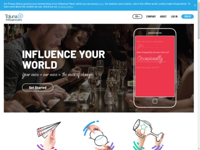 Toluna Influencers website