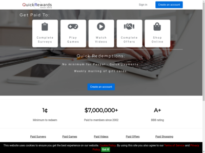 QuickRewards website