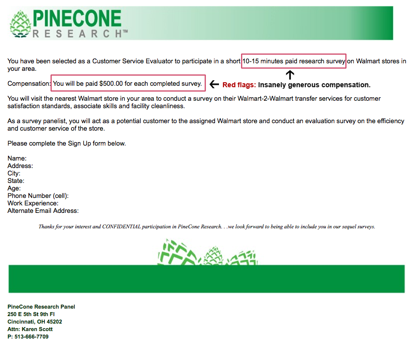 Pinecone Research fake email - 2018