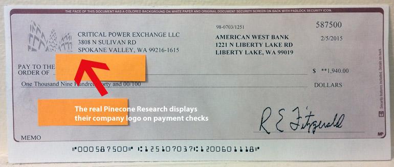 Pinecone Research fake check