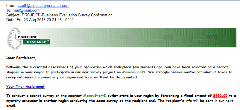 Pinecone Research scam email