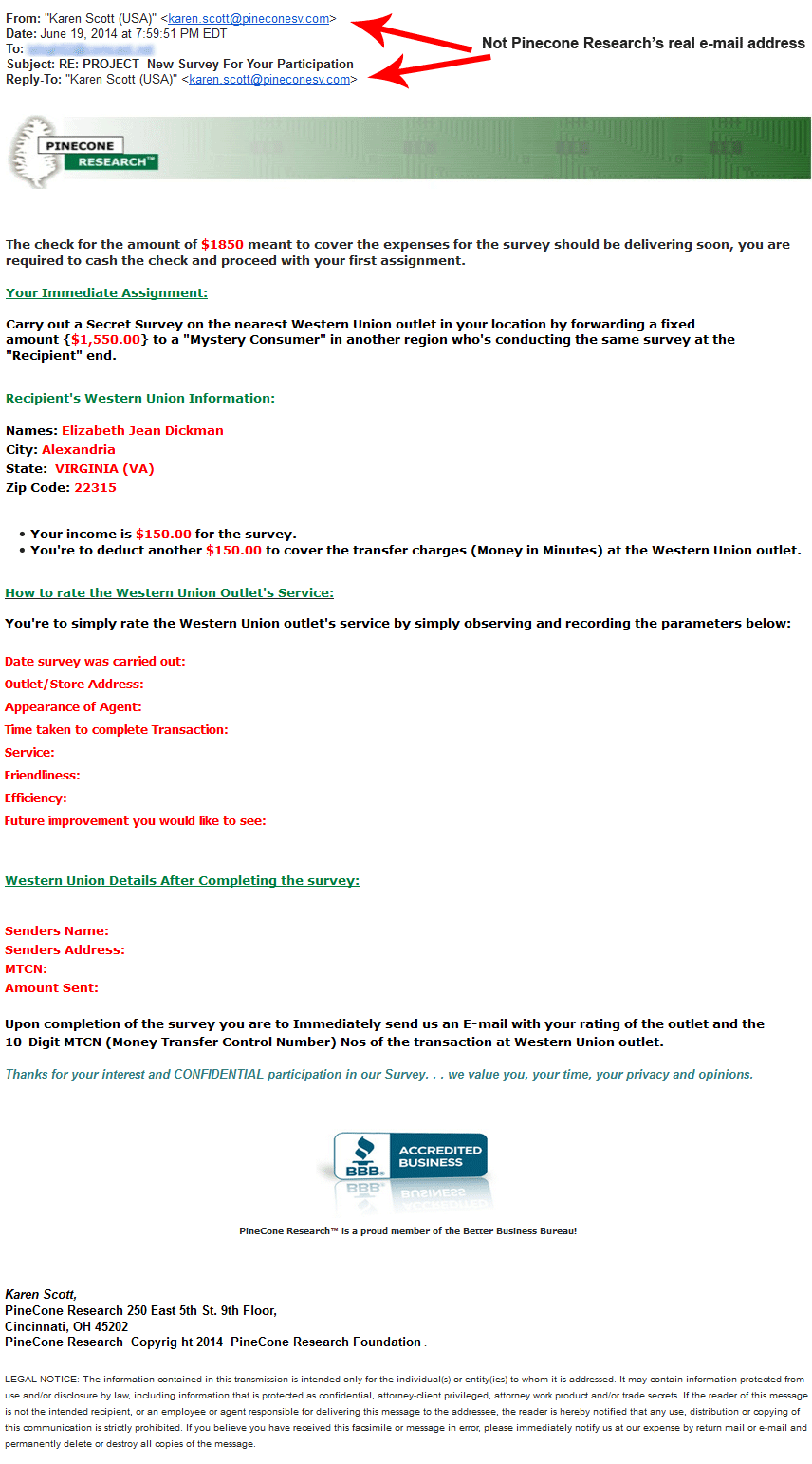 Pinecone Research fake email 5
